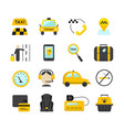 taxi app flat icons set vector image