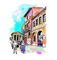 original digital watercolor drawing of Rome street vector image
