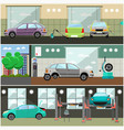set of car service station repair shop vector image