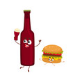 funny beer bottle and yummy hamburger characters vector image