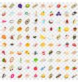 100 vitamine icons set isometric 3d style vector image