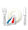 Plate Fork Knife with France Flag vector image