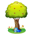 A monster writing under the tree vector image vector image