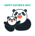 sticker card with happy father and child panda vector image