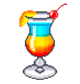 Pixel rainbow cocktail isolated vector image