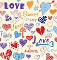 Valentines day hand drawn elements seamless vector image