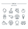 circus icons line set vector image