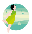 girl in a green dress and bells vector image