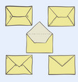 set of cute hand drawn envelopes vector image
