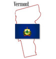 vermont state map and flag vector image