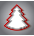 White and red paper christmas tree vector image