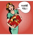 Woman hold gift box Thank you speech bubble vector image