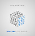 Cube created of numbers 1 and 0 Digital technology vector image