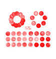 red watercolor circles set vector image