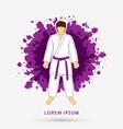 karate suit with violet martial arts belts vector image
