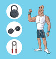 healthy man athletic muscular gym equipment vector image