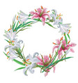 floral frame of white and pink lilies vector image vector image