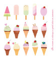 ice cream cone and popsicle set isolated on white vector image