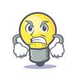 angry light bulb character cartoon vector image