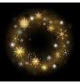golden snowflakes on a black background vector image