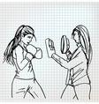 Woman boxer sketch vector image vector image