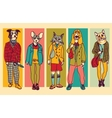 People with animals heads full height figures vector image