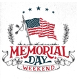 Memorial Day weekend greeting card vector image