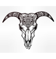 Hand drawn romantic ornate goat skull vector image