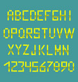 bright yellow alphabet in the style of the postal vector image
