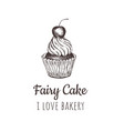 Fairy cake cupcake sketch lettering logo vector image