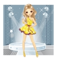 Girl In Gold Dress Dancing vector image