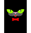 Green cat eyes and a red bow tie Muzzle your pet vector image