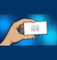 pop art comic text business card cartoon man hand vector image