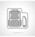 School bag with pencils box line icon vector image