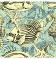 Sea pattern marine life exotic fish background vector image
