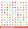 100 creative icons set cartoon style vector image