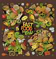 fast food hand drawn doodles design vector image