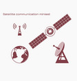 satellite communication miniset vector image