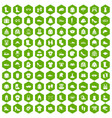 100 clothing and accessories icons hexagon green vector image