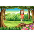 A stump with a tall child vector image vector image