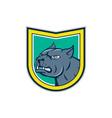 Pitbull Dog Mongrel Head Side Shield Cartoon vector image vector image
