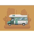 Camper Trailer on desert National Park Area vector image