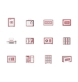 Red cabinets and lockers flat icons set vector image