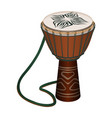 authentic african wooden djembe with patterns and vector image
