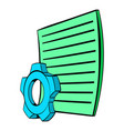 gear wheel and sheet of paper icon cartoon vector image
