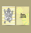 hindu god ganesha cards handwritten words happy vector image