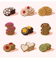 Cookies of Cartoon Food Icons vector image
