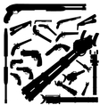 guns and weapons silhouettes vector image vector image
