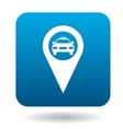 Map pointer with taxi icon in flat style vector image