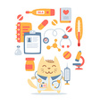 Character doctor in medical coat with a vector image